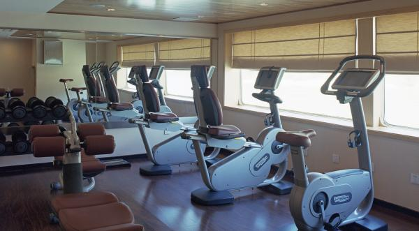 Enjoy a workout in the gym aboard the Yangzi Explorer.