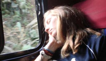 Sleeping soundly on the train back from Machu Picchu to Ollantaytambo