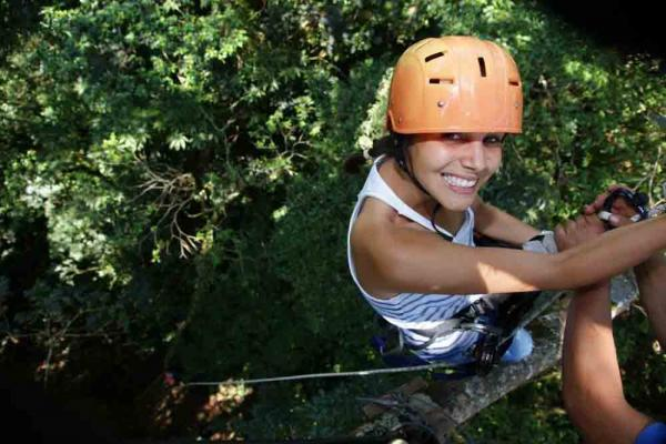 Ziplining through the Costa Rican forest.