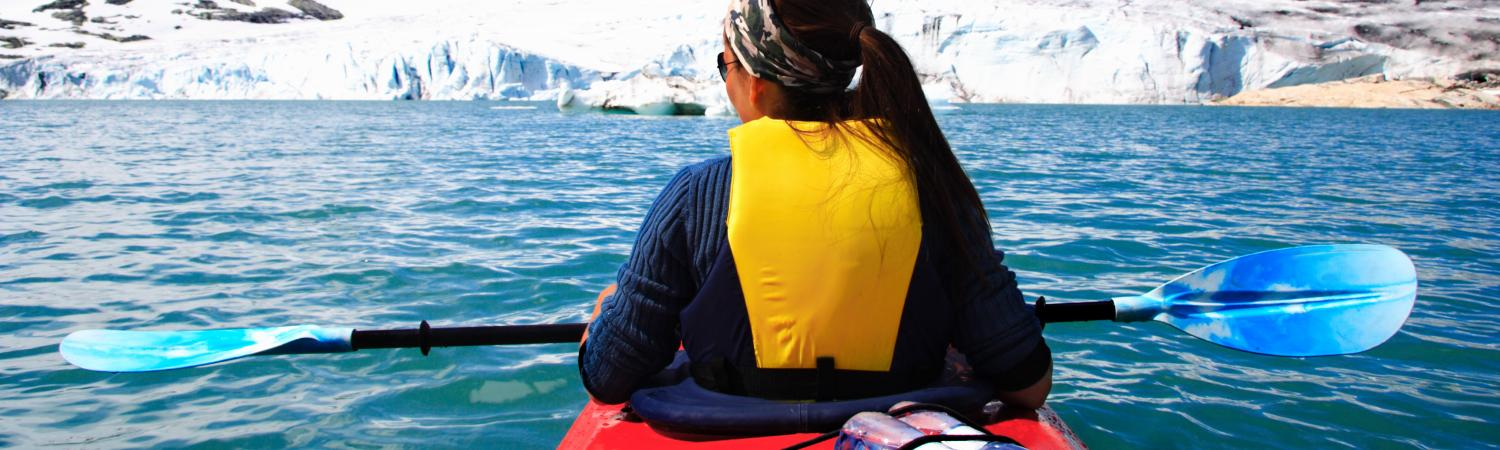 Kayak quiet waters as you sail to remote coves of Antarctica
