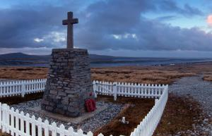 A war memorial in the Falkland Islands