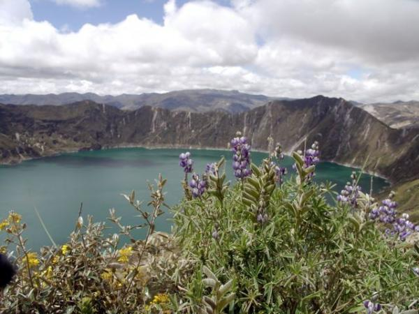 Quilotoa Crater lake atop a volcano