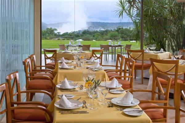 Enjoy a delicious meal and view in the dining room.
