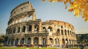 The Roman Colosseum in autumn