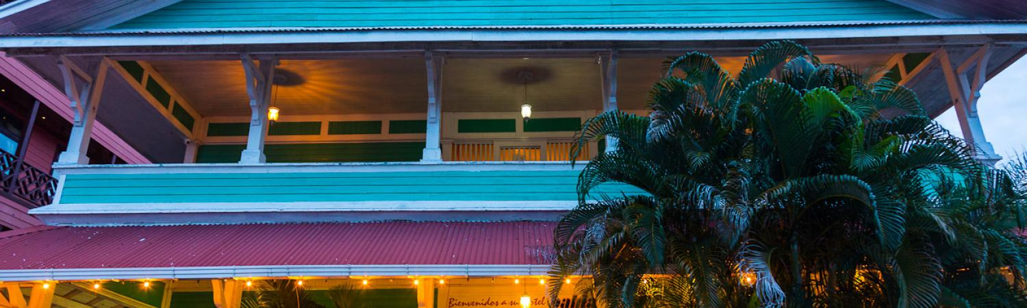The brightly painted exterior of the Gran Hotel Bahia.