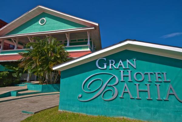 Image of the brightly painted sign of the Gran Hotel Bahia.