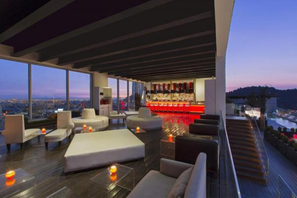 The rooftop Red2One bar is perfect for enjoying a drink and the view.