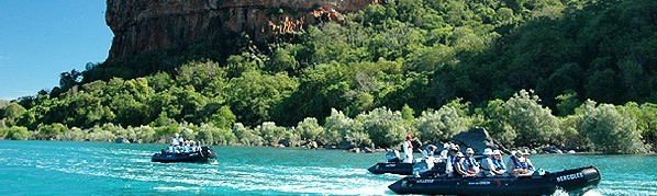 Zodiacs exploring the shores of the Kimberley Islands