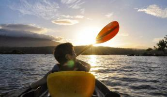 Kayaking into the sunset.