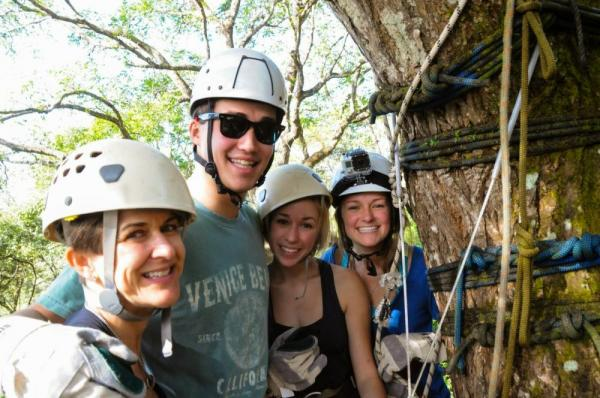 A family getting ready to do some ziplining.