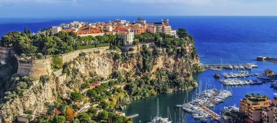 Part of the beautiful French Riviera, Monaco sits high on a cliff.