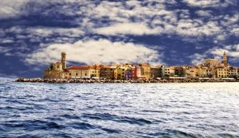 A coastal town on the Adriatic Sea.