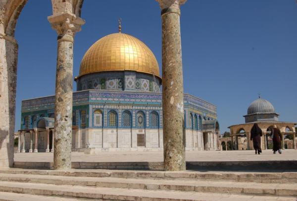 Locals visit the Dome of the Rock in the Old City of Jerusalem.