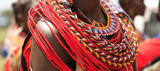 A close up of a type of traditional dress worn in Africa.