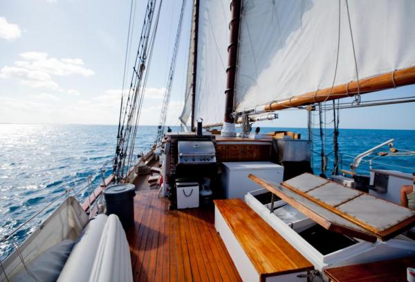 Enjoy the view from the deck of the Liberty Clipper.