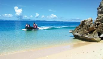 Take a zodiac trip around the island and explore the beautiful white sand beaches.