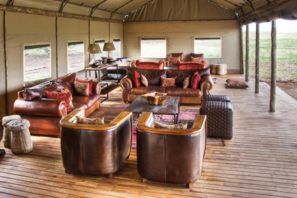 Desert Rhino Camp's open lounge area.