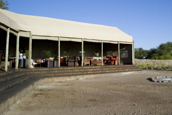 A view of the Desert Rhino Camp's dining and lounge area.