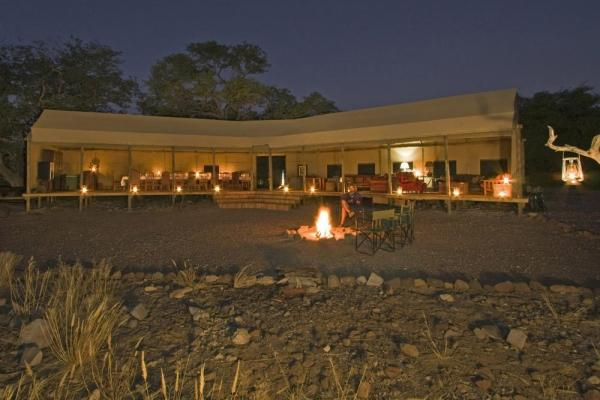 A view of the Desert Rhino Camp at night.