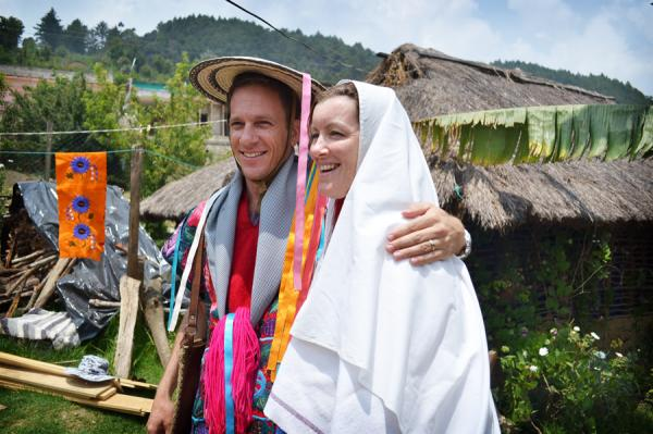 A couple in traditional marriage attire for the region.