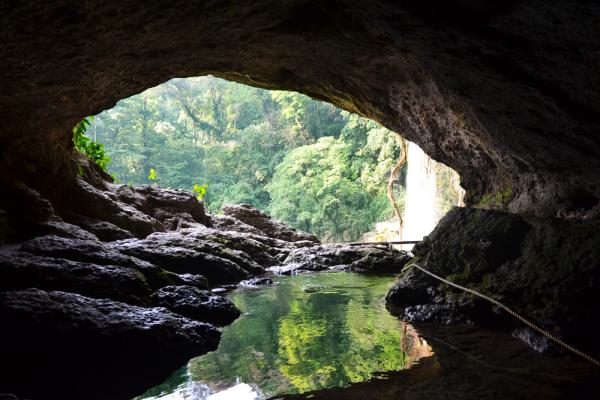 Behind the Misol-Ha waterfall lies an incredible cave.