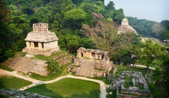 A view of the Mayan Palenque ruins from above.