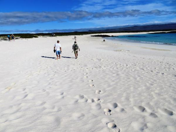 Enjoy hiking across the beautiful white sand beaches.