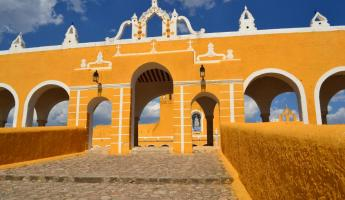 The brightly colored Izamal monastery in the Yucatan.