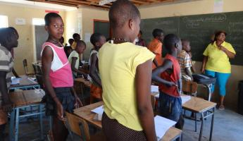 A classroom filled with local children