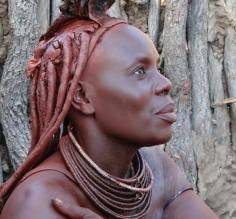 Traditional headgear and jewelry worn by the women in Namibia