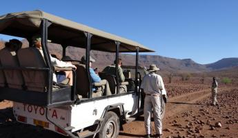 The vehicle used to take travelers on a wildlife viewing excursion