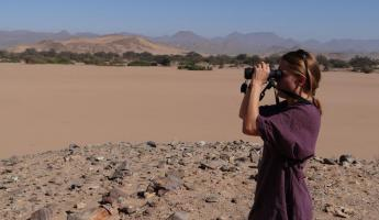 A traveler views the vast African landscape