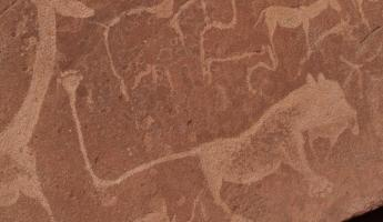 A close up of ancient drawing in Africa