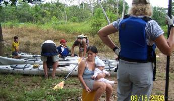Praparing to kayak in the Amazon