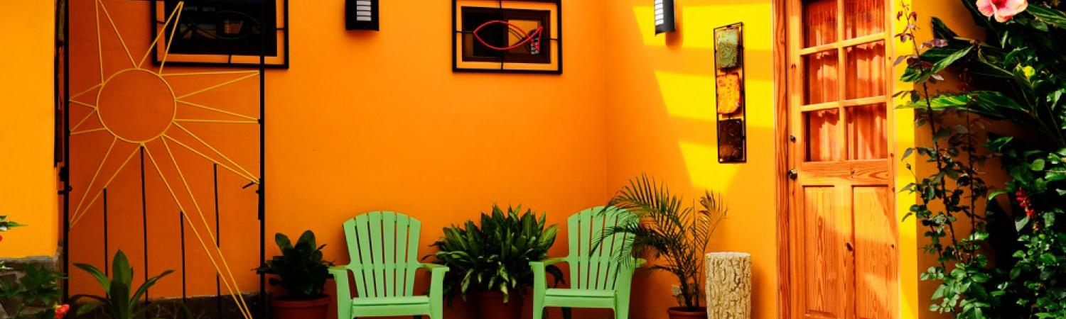The fun and brightly colored accommodations at the Isla Verde