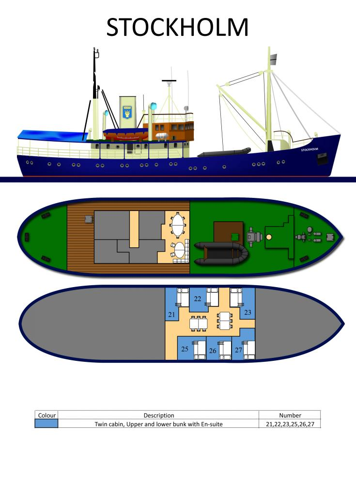 Deck plans of the M/S Stockholm