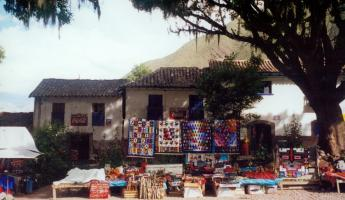A local market with woven textiles