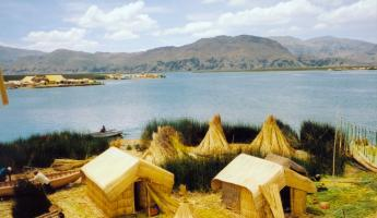 Traditional reed houses on the Uros Islands