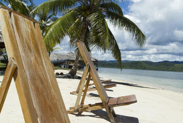 Relax on the pristine beach when staying at the Yandup Island Lodge