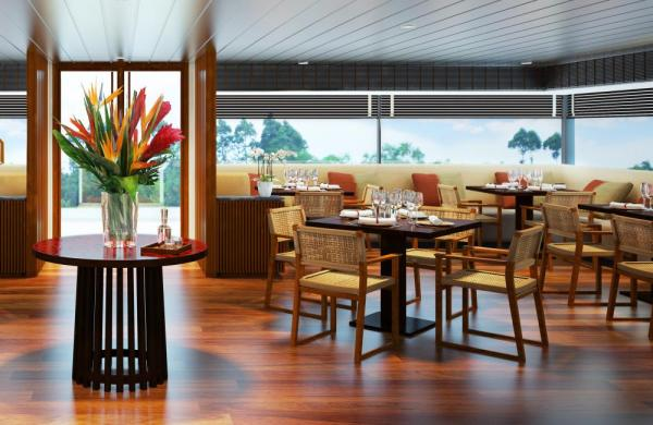 The dining room aboard the Aqua Mekong