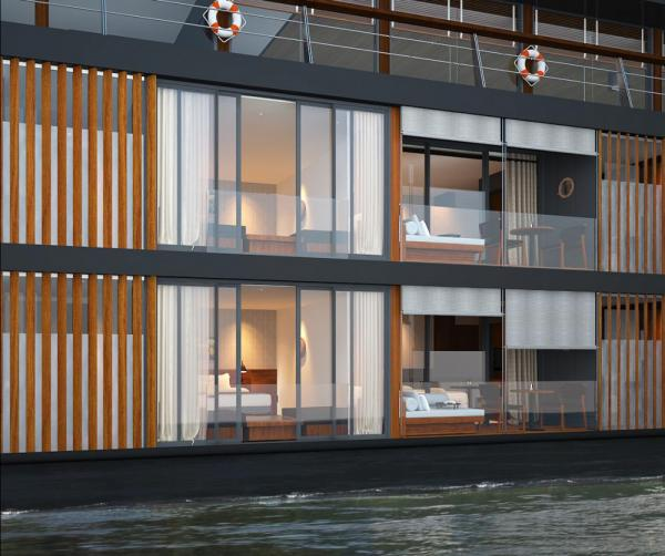 A side view of the luxurious Aqua Mekong