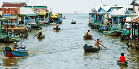 The floating village of Tonle Sap, Cambodia