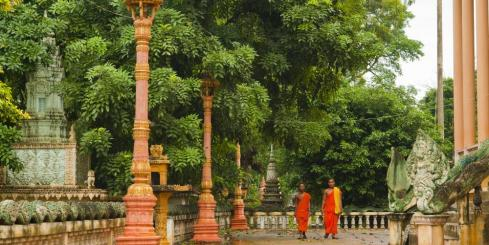 Monks outside the temple