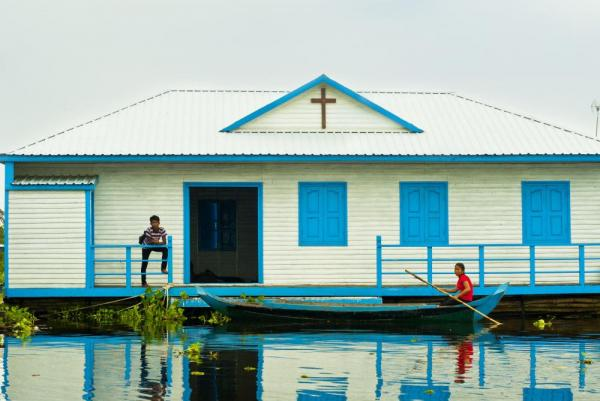 A floating church in Cambodia