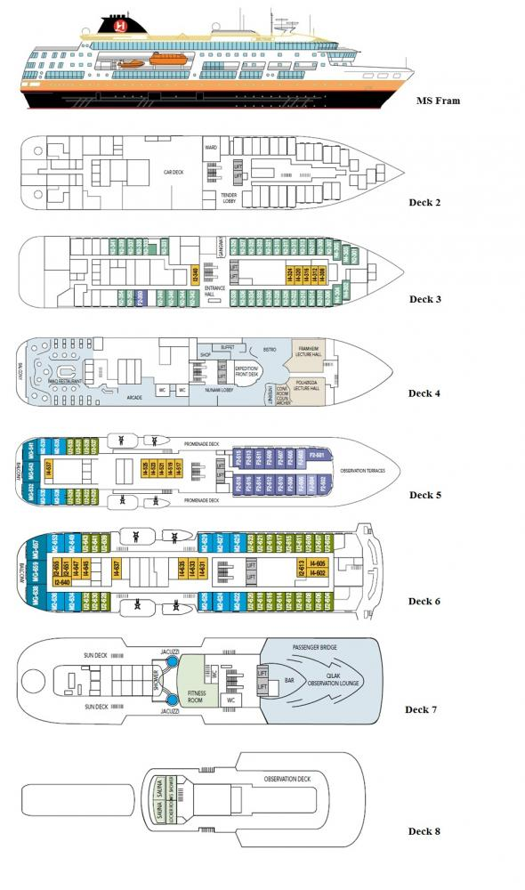 Deck plans of the MS Fram