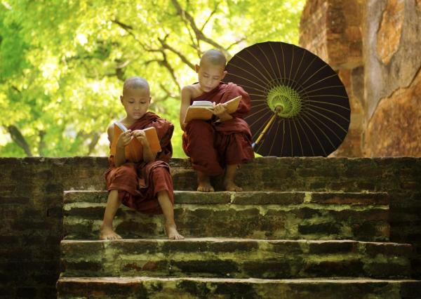 Two young monks read on the steps of an old temple