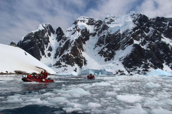 Explore the remote Antarctic via zodiac as you sail on the MS Fram