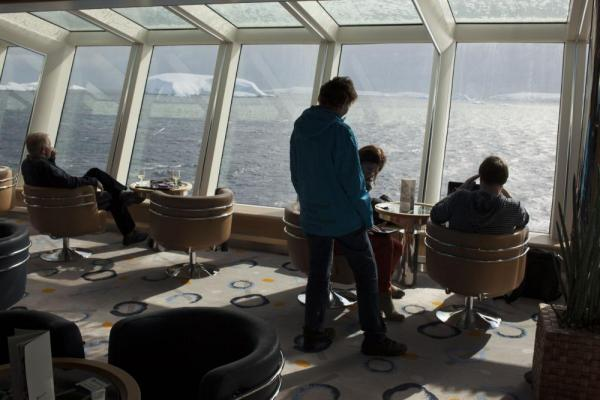 Take advantage of the large windows aboard the MS Fram