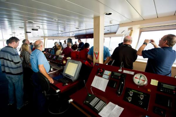 Enjoy views from the bridge as you sail on the MS Fram