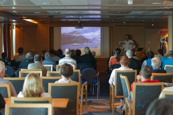 Attend informative lectures as you sail on the MS Fram